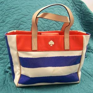 ❤️KateSpade Blue/White Stripes OrgLthr Accent Bag